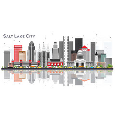 salt lake city utah city skyline with gray vector image