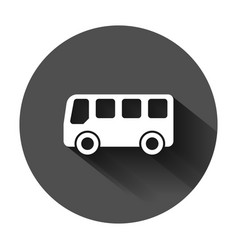 school bus icon in flat style autobus on black vector image