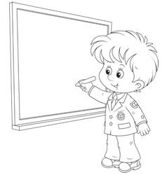 Schoolboy writes on the blackboard vector image
