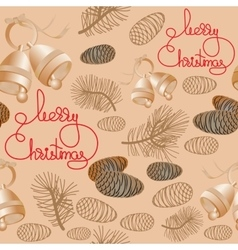 Seamless pattern with bells pine cone vector image