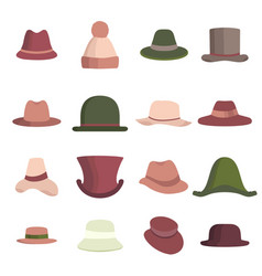 Set man and woman different hats head hat icon vector