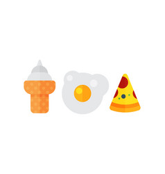 Set of colorful cartoon fast food eggs icon vector