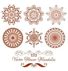 Set of Henna Color Mandala over white vector