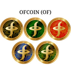 Set of physical golden coin ofcoin of vector