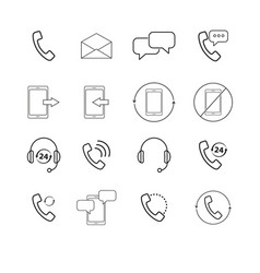Set of support chat callback mail icons vector