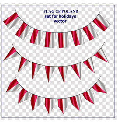 Set with flags poland with folds colorful vector