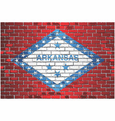Shiny flag arkansas on a brick wall vector