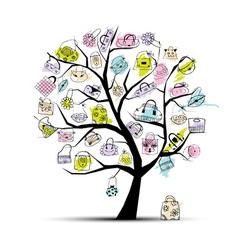 shopping bag tree vector image