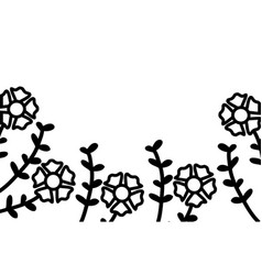 silhouette flowers with leafs white background vector image