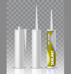 silicone sealant packaging tube mock up set vector image