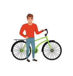 Smiling man standing next to his bicycle active vector