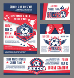 soccer team college football match posters vector image