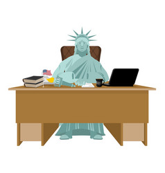 statue of liberty sitting in office american boss vector image