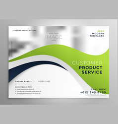 Stylish green wave brochure design template vector