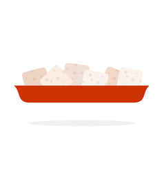 sugar cubes on a plate flat isolated vector image
