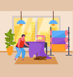 Tailor in studio composition vector