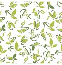 Tea cups with leaves seamless pattern background vector