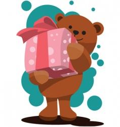teddy bear gift box vector image
