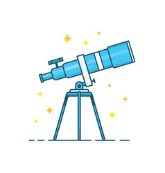 telescope and stars modern line vector image