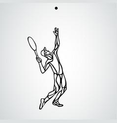 tennis player black outline creative vector image