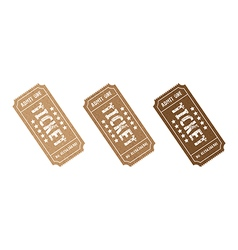 Three brown tickets vector