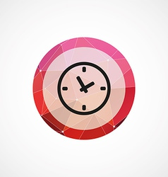 Time circle pink triangle background icon vector image