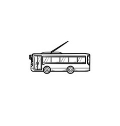 trolleybus hand drawn outline doodle icon vector image