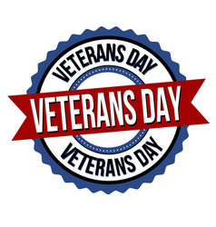 veterans day label or sticker vector image