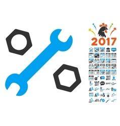 Wrench And Nuts Icon With 2017 Year Bonus vector