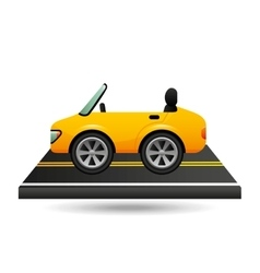 Yellow cabriolet car on road vector