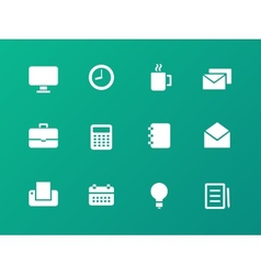 Business icons on green background vector image