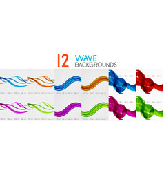collection of bright wave templates vector image