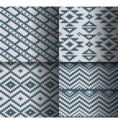 Collection of monochrome seamless knitted patterns vector image