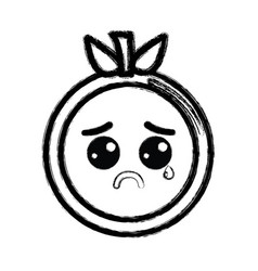 contour kawaii nice crying orange fruit vector image