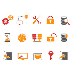 orange and red color database technology icons set vector image vector image