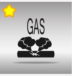 pipe damage gas black icon button logo symbol vector image vector image