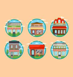 restaurant and shop facade round label set vector image