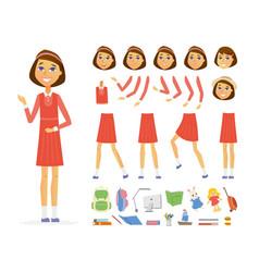 schoolgirl - cartoon people character vector image
