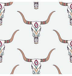 seamless pattern with bull skull and ethnic vector image