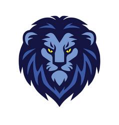 blue lion head logo design vector image