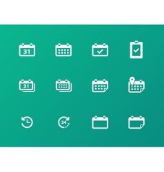 Calendar icons on green background vector image vector image