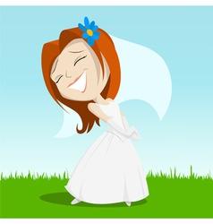 cartoon happy bride on green grass vector image vector image