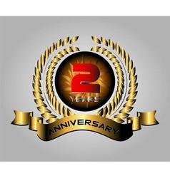 Celebrating 2 Years Anniversary - Golden Laurel vector image