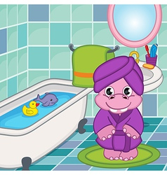 hippo girl in bathroom vector image vector image