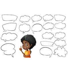 Kid and different types of bubble speeches vector image vector image
