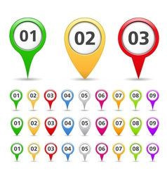 Map markers with numbers vector image vector image