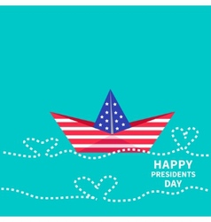 Presidents Day background Paper boat with heart vector image vector image