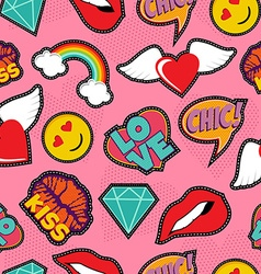 Pink pop art stitch patch seamless pattern vector image vector image