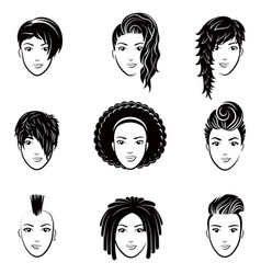 set of stylized logo with beautiful women vector image vector image