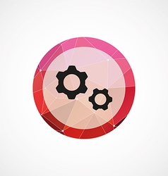 Settings circle pink triangle background icon vector image vector image